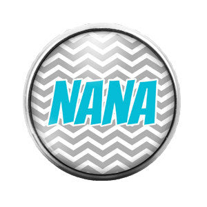 Nana Chevron Blue Gray - 18MM Glass Dome Candy Snap Charm GD0097