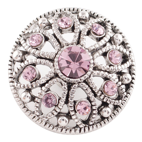 1 PC - 18MM Pink Rhinestone Candy Snap Charm Silver Tone kc5050 CC2772