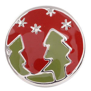 1 PC - 18MM Christmas Tree Enamel Candy Snap Charm Silver Tone kc5058 CC2777