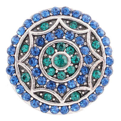 1 PC - 18MM Blue Green Rhinestone Candy Snap Charm Silver Tone kc6026 CC2795