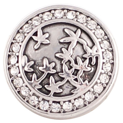1 PC - 18MM Flowers Rhinestone Silver Charm for Candy Snap Jewelry KC5008 CC2227