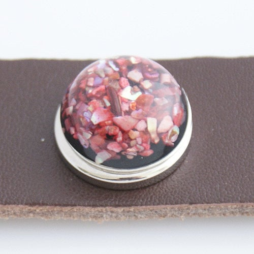 1 PC 18MM Red Resin Silver Candy Snap Charm kb2207 CC3130
