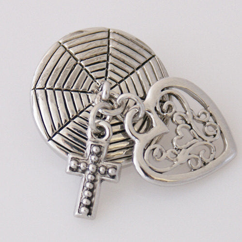 1 PC 18MM Heart Cross Dangle Silver Candy Snap Charm kb5096 CC3180