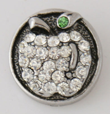 1 PC 18MM White Apple Rhinestone Silver Candy Snap Charm kb7774 CC3223