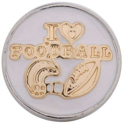 1 PC 18MM I Love Football Enamel Silver Gold Candy Snap Charm kc5123 CC3236