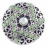 1 PC 18MM Green Rhinestone Silver Candy Snap Charm kc8573 CC3266