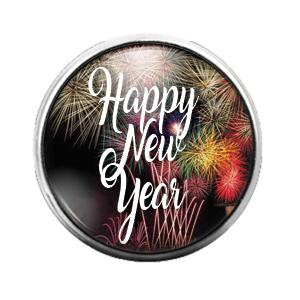 Happy New Year - 18MM Glass Dome Candy Snap Charm GD0678