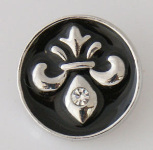 1 PC 18MM Black Fleur De Lis Enamel Silver Candy Snap Charm kb7760 CC0031