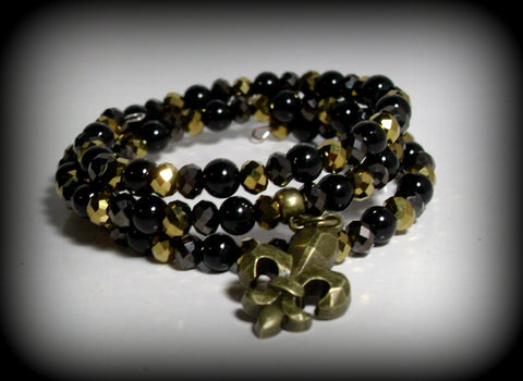 Bronze Fleur De Lis Charm Beaded Black and Gold Faux Crystal Triple Wrap Memory Wire Bracelet #17