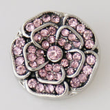 1 PC 18MM Flower Pink Rhinestone Silver Snap Candy Charm KB7553 CC0096