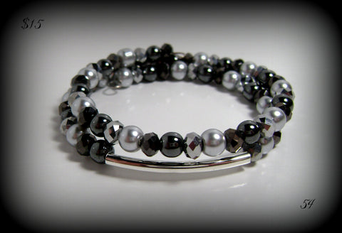 Black Gray Beaded Memory Wire Bracelet Silver Faux Pearl & Crystals #54