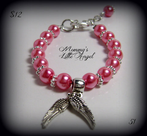 Baby Bracelet Angel Wings Beaded Pink Faux Pearl Silver Wire Strung #51