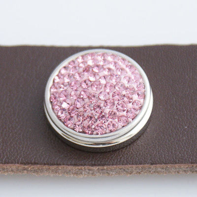 1 PC 18MM Pink Rhinestone Round Silver Snap Candy Charm KB2311 CC0127