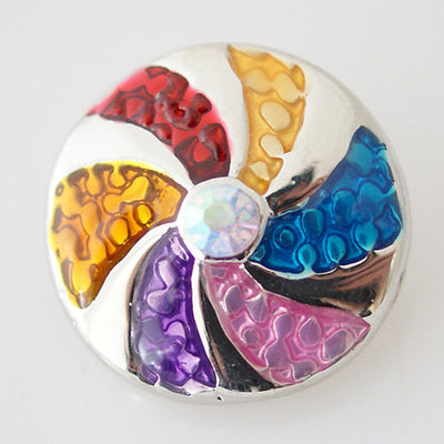 1 PC 18MM Rainbow Spinwheel Enamel Rhinestone Silver Snap Candy Charm KB7016 CC0148