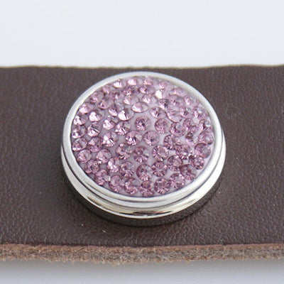 1 PC 18MM Pink Rhinestone Round Silver Candy Snap Charm KB2322 CC0123