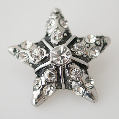1 PC 18MM White Star Rhinestone Silver Snap Candy Charm KB7965 CC0143