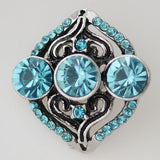 1 PC 18MM Blue Rhinestone Silver Candy Snap Charm KB7490 CC0144