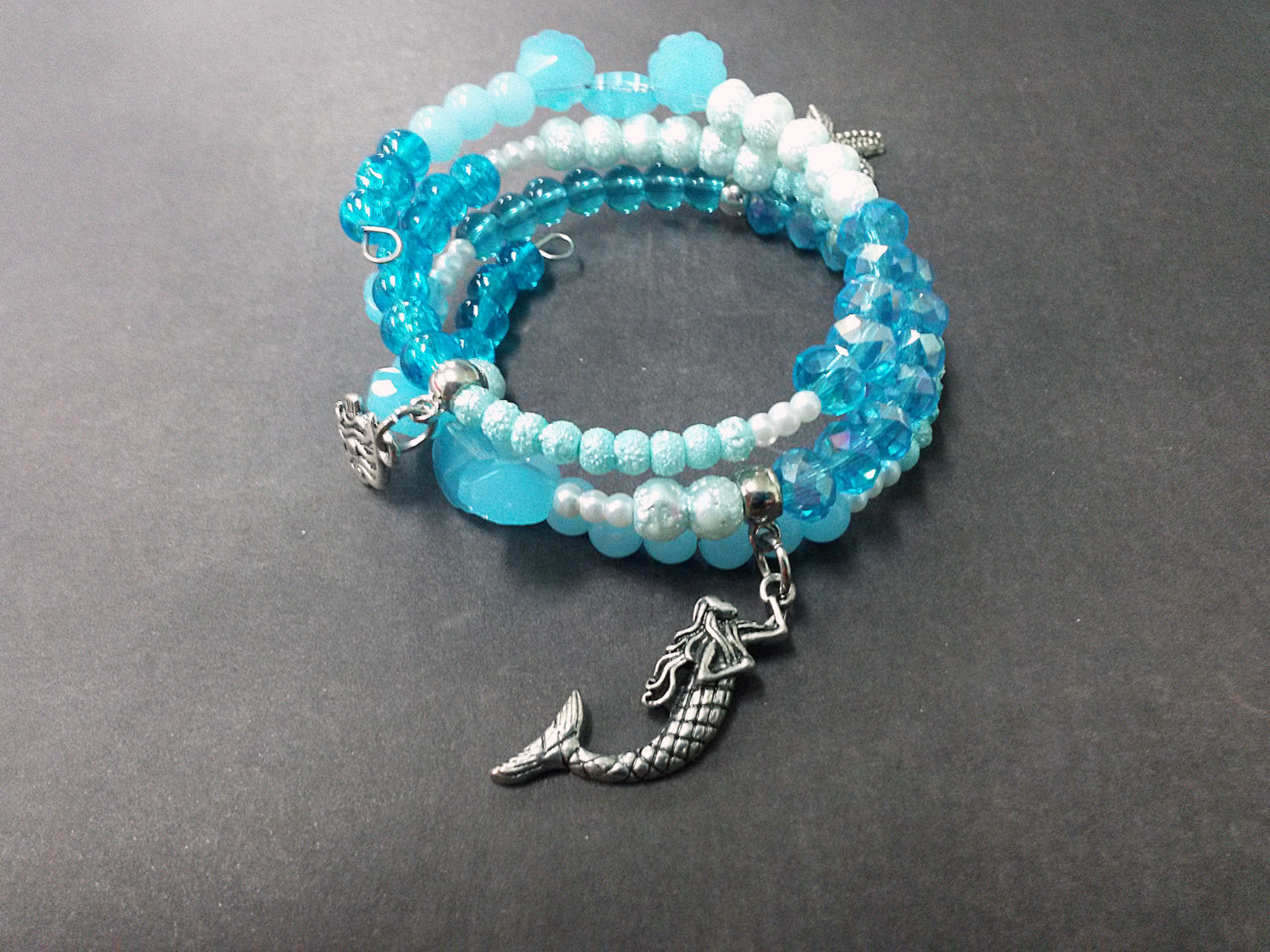 Mermaid Ocean Starfish Blue Wrap Bracelet Charm Glass Acrylic Memory ...