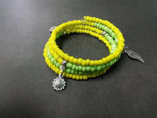 Sunflower Leaf Yellow Green Seed Bead Wrap Bracelet Charm Glass Acrylic Memory Wire Metal Silver Cuff Coil MW0030