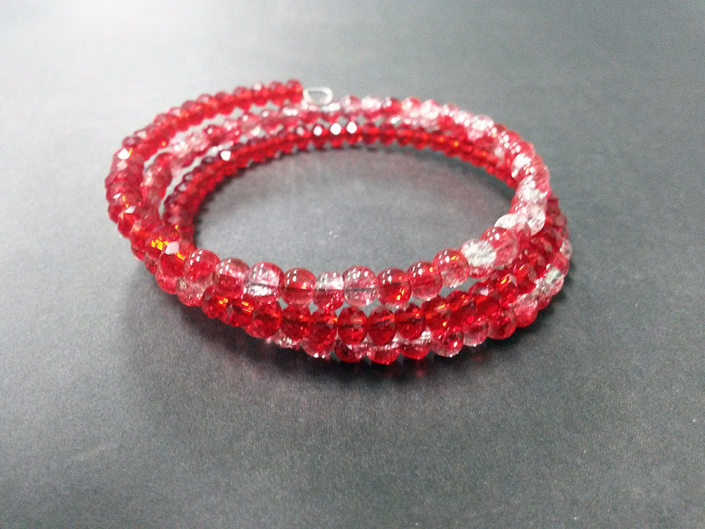 Valentine Gift Idea Red White Louisiana Wrap Bracelet Charm Glass Acrylic Memory Wire Metal Silver Cuff Coil MW0008