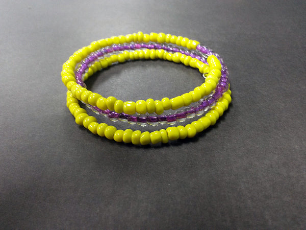 Purple Yellow Louisiana Seed Bead Wrap Bracelet Charm Glass Acrylic Memory Wire Metal Silver Cuff Coil MW0027