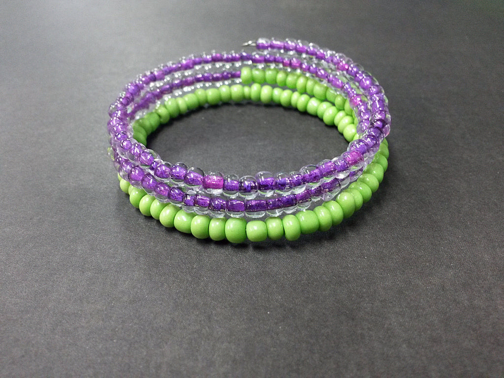 Purple Green Seed Bead Wrap Bracelet Charm Glass Acrylic Memory Wire Metal Silver Cuff Coil MW0032