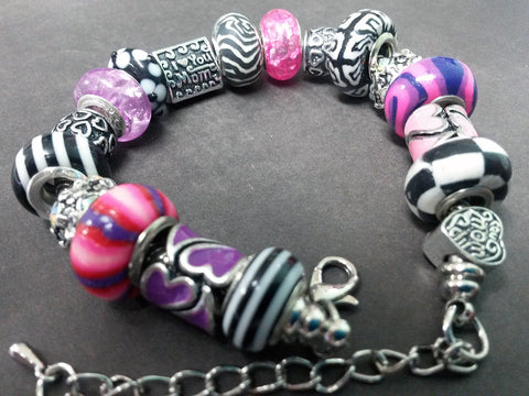 Black White Purple Love Mom Theme European Charm Bracelet Lampwork Silver Rhinestone Glass Enamel Bead Snake Chain EBB0031