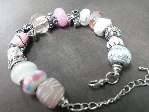 Angel Awareness Ribbon Pink European Charm Bracelet Lampwork Silver Rhinestone Glass Enamel Bead Snake Chain EBB0024