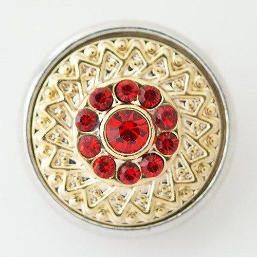 1 PC 18MM Red Rhinestone Gold Candy Snap Charm KB5674 CC0203