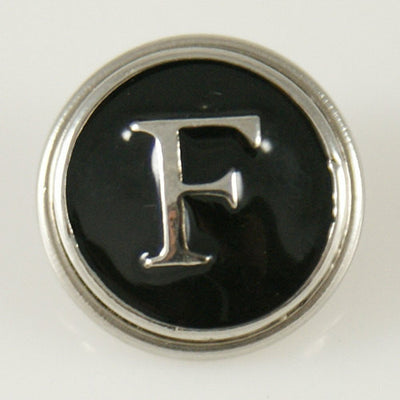 1 PC 18MM Letter F Black Enamel Silver Candy Snap Charm KB1256 CC0229