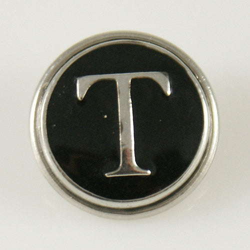 1 PC 18MM Letter T Black Enamel Alphabet Silver Candy Snap Charme KB1270 CC0241