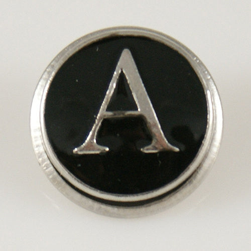 1 PC 18MM Letter A Black Enamel Alphabet Silver Candy Snap Charm KB1251 CC0225
