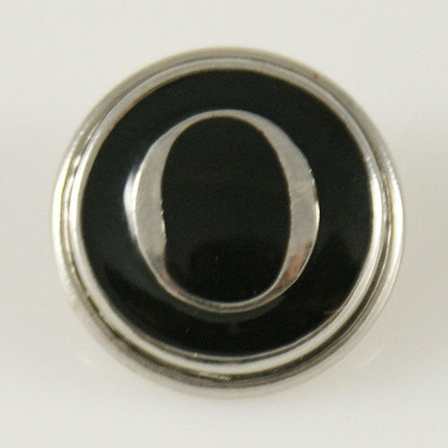 1 PC 18MM Letter O Black Enamel Alphabet Silver Candy Snap Charm KB1265 CC0237
