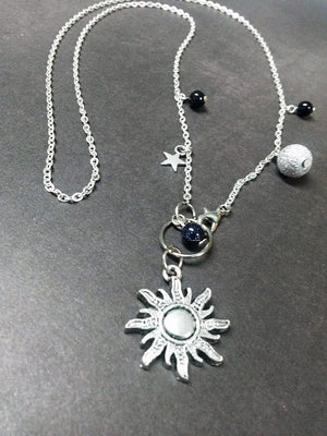 Black Blue Celestial Sun Stars Pendant Necklace Beaded Charm Glass Silver Lobster Clasp MC9