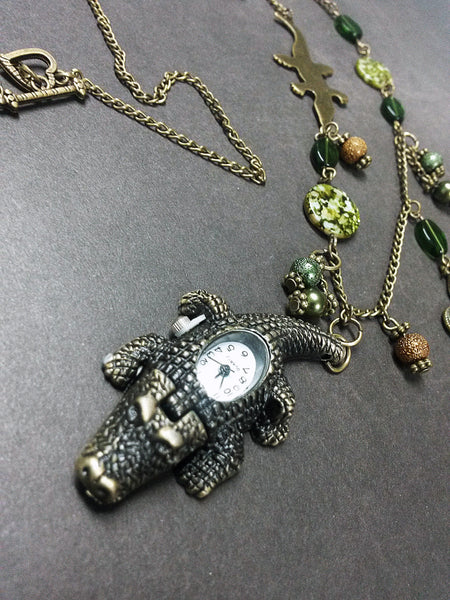 Alligator Gator Louisiana Watch Clock Fleur De Lis Pendant Necklace Beaded Charm Glass Bronze Tone with Lobster Clasp MC15