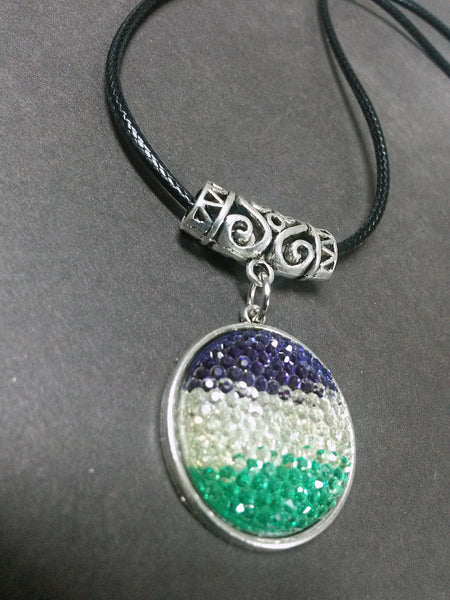 Resin Rhinestone Green Purple White Gradient Pendant Necklace Beaded Charm Glass Silver Lobster Clasp MC13