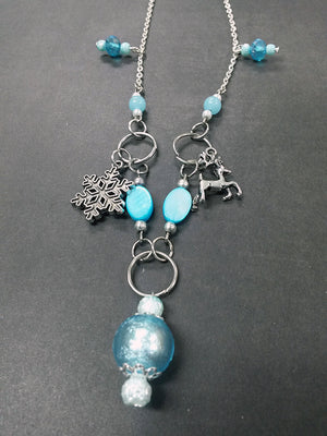 Blue Winter Snow Snowflake Reindeer Christmas Pendant Necklace Beaded Charm Glass Silver Lobster Clasp MC20
