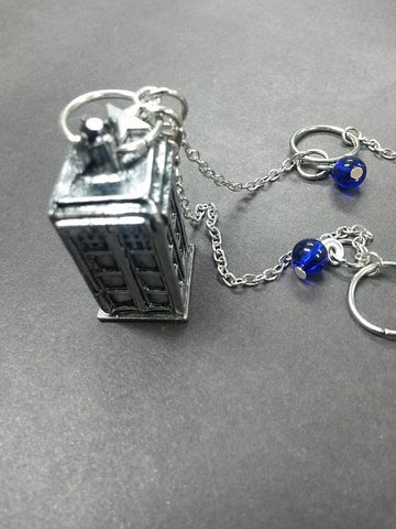 Blue Swirl Beaded Dangle 3D Police Box British Telephone Star Pendant Necklace Beaded Charm Glass Silver Lobster Clasp MC28