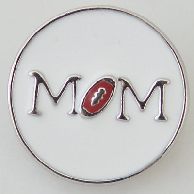 1 PC 18MM Football Mom Ball Sports Silver Candy Snap Charm KB8066 CC0273