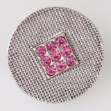 1 PC 18MM Pink Square Rhinestone Silver Snap Candy Charm KB5268 CC0272