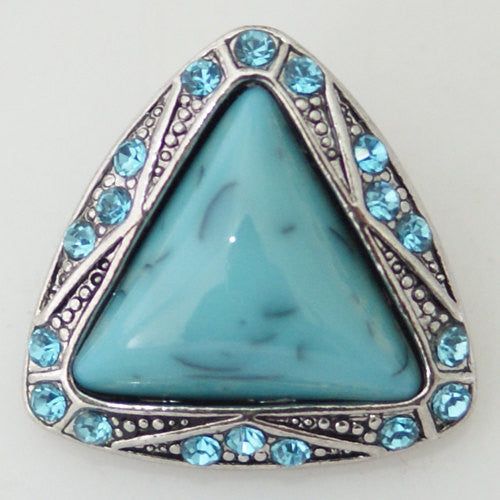 1 PC 18MM Blue Triangle Rhinestone Silver Candy Snap Charm KB8664 CC0278