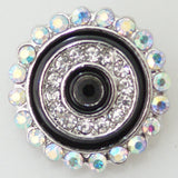 1 PC 18MM Black Enamel Rhinestone Silver Candy Snap Charm KB8668 CC0289