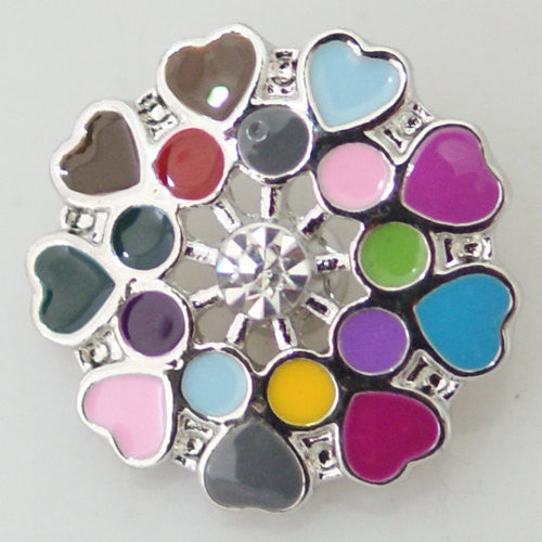 1 PC 18MM Heart Enamel Silver Snap Candy Charm KB8666 CC0294