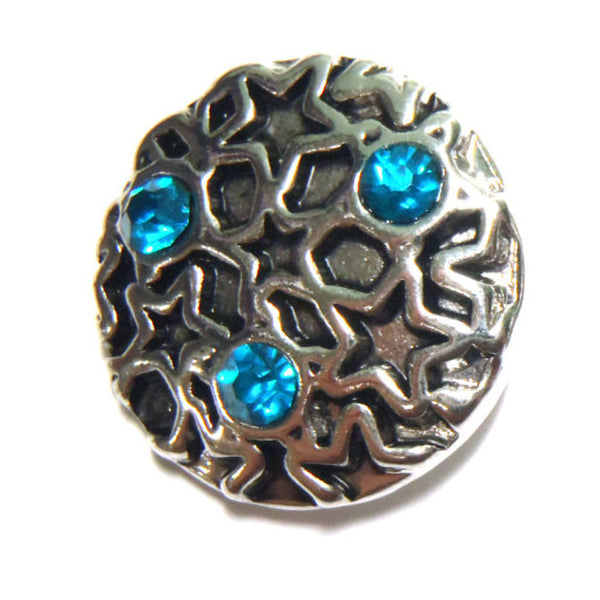 1 PC 18MM Blue Rhinestone Star Silver Snap Candy Charm Limited Edition CC0036