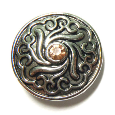 1 PC 18MM Peach Flourish Rhinestone Silver Candy Snap Charm Limited Edition CC0052