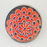 1 PC 18MM Orange Red Flower Cut Painted Stone Silver Snap Candy Charm KB1034 CC0301