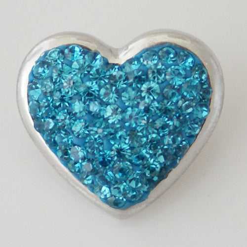 1 PC 18MM Blue Heart Rhinestone Silver Snap Candy Charm KB4262 CC0305