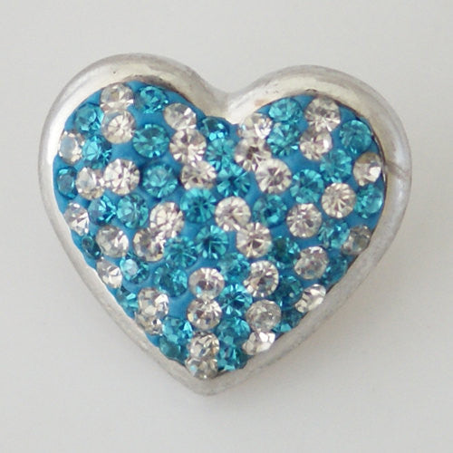1 PC 18MM Blue Heart Rhinestone Silver Snap Candy Charm KB4265 CC0324