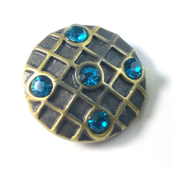 1 PC 18MM Blue Rhinestone Pattern Bronze Candy Snap Charm Limited Edition CC0341