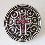 1 PC 18MM Pink Cross Silver Snap Candy Charm kb3486 CC0357